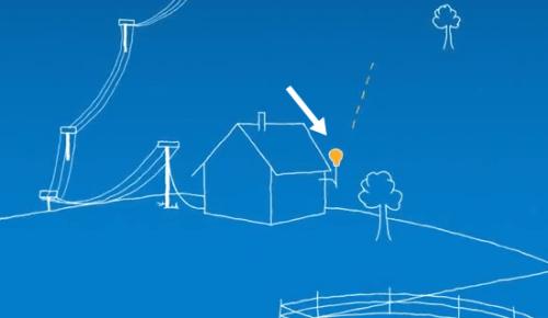"""антенна, установленная на здании жилого дома, """"общается"""" с шаром."""