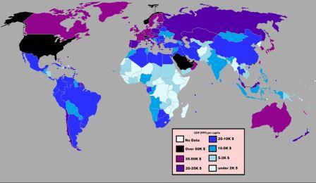 Страны по ВВП (ППС) на душу населения за 2012 г.
