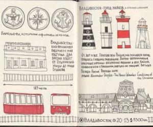 Иллюстрированный дневник (скетчбук) Кати Гущиной - это потрясающе!