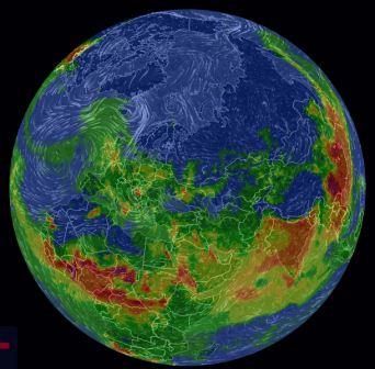 снимок с анимированной 3D-карта загрязнения воздуха
