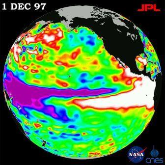 Эль-Ниньо — фаза Южной осцилляции, в которой область нагретых приповерхностных вод смещается к востоку.