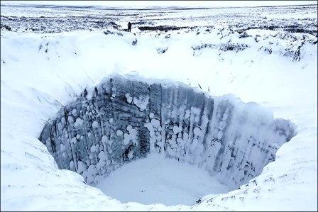 гигантская газовая воронка на Ямале зимой