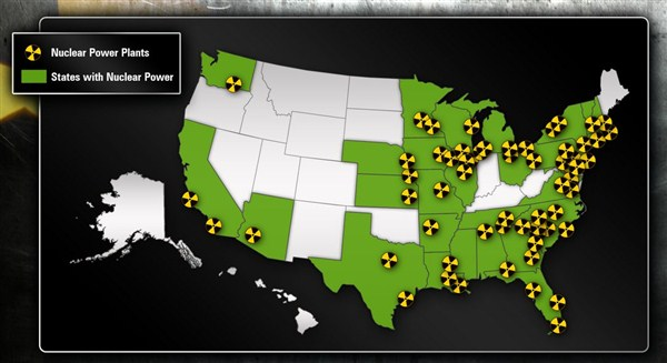 карта ядерных реакторов в США